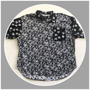 Vintage Gitano black and white floral shirt